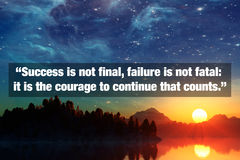 Inspirational Typographic Quote. Success is not final, failure is not fatal: it is the courage to continue that counts Stock Photos