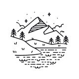 Inspirational vector illustration- mountains. Inspirational vector illustration - mountains and lake Royalty Free Stock Photos