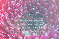 Inspirational verse from the bible on a blurred background. Inspirational verse from the bible on a flower background Stock Photography