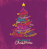 Inspirational word cloud Christmas tree greeting card design Royalty Free Stock Images