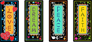 Inspirational Words. Set of four tags with the words love, dream, peace and faith. Eps10 Royalty Free Stock Images