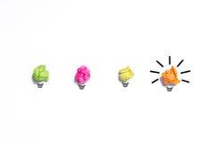 Inspirationbegreppet skrynklade den pappers- metaforen för den ljusa kulan för goda Royaltyfri Bild