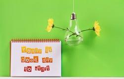 Inspirationmotivationkostnadsförslag per idag är en bra dag som ska startas Liv framgång, nytt börjanbegrepp Royaltyfri Foto