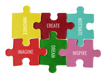 Inspirations on Puzzle Pieces Stock Photo