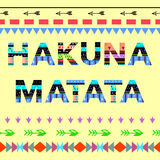 Inspirationszitat Hakuna Matata Auch im corel abgehobenen Betrag Stockfotos