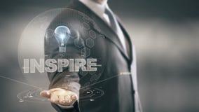 Inspire con concepto del hombre de negocios del holograma del bulbo ilustración del vector