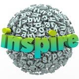 Inspire a educação inspirador da bola da esfera da letra da palavra 3D Fotos de Stock Royalty Free