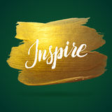 Inspire. Green and Gold Foil Calligraphy Poster Stock Images
