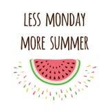 Inspire la cita positiva con la sandía y decir 'menos lunes más verano' stock de ilustración