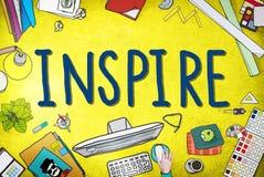 Inspire la imaginación de la inspiración de la creatividad de las ideas que piensa Concep Fotos de archivo