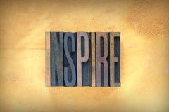 Inspire Letterpress. The verse INSPIRE written in vintage letterpress type royalty free stock photo