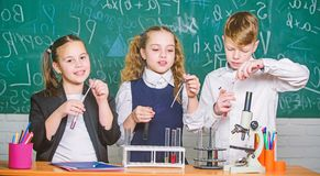 Inspire. Little children. Science. Little kids scientist earning chemistry in school lab. Chemistry science. biology stock photography