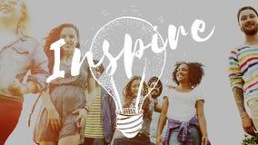Inspire o conceito criativo da faculdade criadora da motivação da inspiração fotografia de stock royalty free