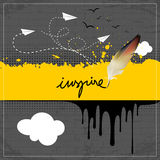 Inspire, paint spill. Black ink, paint spill on brick wall. Handwritten typography, pen, quill Royalty Free Stock Photos