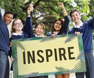 Inspire Positive Thinking Graphic Concept. Inspire Positive Thinking School Student Royalty Free Stock Photos