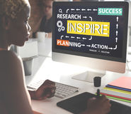 Inspire Research Planning Action Success Concept stock photo