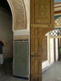 Inspire walls in Morocco. Wonderfull drawings on the door and window. Colorful and elegant floor stock images