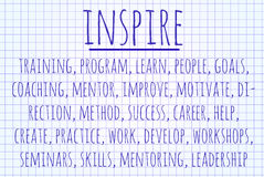 Inspire word cloud. Written on a piece of paper Royalty Free Stock Images
