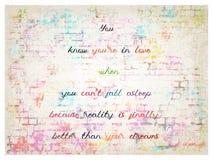 Inspire y cita de motivación para el amor ilustración del vector