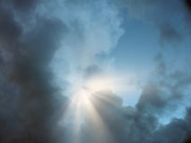 Inspired. Sky with rays of light Royalty Free Stock Photos