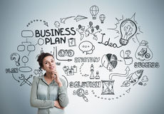 Inspired African American girl, business plan Stock Photos