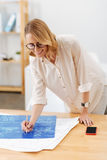 Inspired architect making the draft in the studio Royalty Free Stock Photography