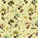 Retro bark cloth guitars background pattern. Inspired by barkcloth fabrics of the 50s and 60s, Retro Retro bark cloth guitars background pattern Royalty Free Stock Images