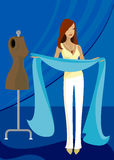 Inspired by Blue. Woman holds long blue fabric, inspired to create something stock illustration