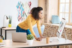 Inspired businesswoman working on her project. My favourite job. Good-looking inspired young curly-haired woman working on her laptop while standing at her table Royalty Free Stock Photos