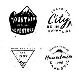 Inspired by great outdoors retro badges in minimal rough style. Vintage engraving labels on mountains theme. Inspired by great outdoors retro badges in minimal Stock Images