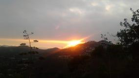 Inspired Horizontal. Sunset over mountains Stock Photo