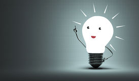 Inspired light bulb character Royalty Free Stock Photos