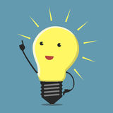 Inspired lightbulb character Royalty Free Stock Photo