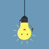 Inspired lightbulb character Royalty Free Stock Image