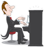 Pianist. Inspired musician plays the piano, vector clip-art on a white background Stock Photography