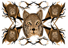 Inspired pattern with wolf Royalty Free Stock Image