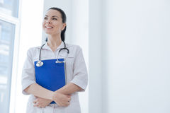 Inspired physician enjoying working responsibilities at the clinic Royalty Free Stock Photography