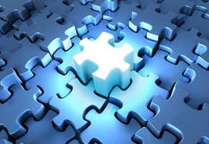 Inspired Solution. 3D rendered illustration of illuminated puzzle piece at the center of a dark puzzle pattern, metaphor for an inspired solution Royalty Free Stock Photo