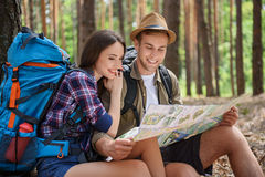 Inspired tourists preparing for journey Royalty Free Stock Image