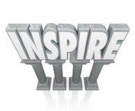 Inspireer 3d Word Steen de Marmeren Kolommen Succes Motivatio aanmoedigen Royalty-vrije Stock Foto's