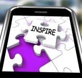 Inspireer Smartphone toont Originaliteitsinnovatie en Creativiteit O Royalty-vrije Stock Foto's