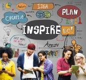 Inspirera idérik inspiration motiverar fantasibegrepp arkivbild