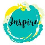 inspirera Inspirerande och motivational citationstecken på färgrik grungefläck vektor illustrationer