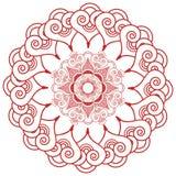 Inspirerad asiatisk kultur gifta sig tatueringen för makeupmandalahenna snör åt garnering i blommaform som göras ut ur sidor, hjä Arkivfoto