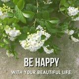 Inspirerande motivational citationstecken` är lycklig med din härliga liv`, arkivfoton