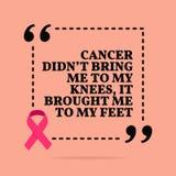 Inspirerande motivational citationstecken Cancer kom med inte mig till mina kn?, det kom med mig till min fot vektor illustrationer