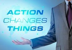 Inspirerande motivera företagscitationstecken med affärsmannen actinium royaltyfri fotografi