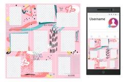 Inspirerat av socialt massmedia för instagramgrungevektor förbrylla malldesignen royaltyfri illustrationer