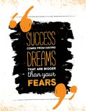Inspirerend motivatiecitaat over vrees en succes Vector van de typografieaffiche en t-shirt ontwerp, bureaudecor verontrust royalty-vrije illustratie