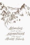 Inspirerende bergkalligrafie De tekening van de hand Vector illustratie Royalty-vrije Stock Afbeeldingen